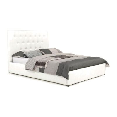 Eric Australian Made Buttoned Fabric Bed, King Size, Ivory