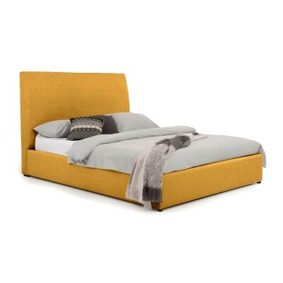 Eric Australian Made Plain Fabric Bed, Double Size, Buttercup