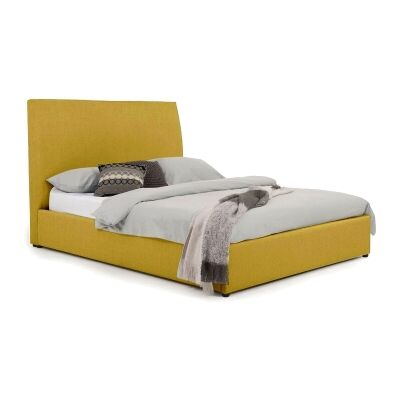 Eric Australian Made Plain Fabric Bed, Queen Size, Chartreuse