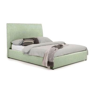 Eric Australian Made Plain Fabric Bed, Queen Size, Duckegg