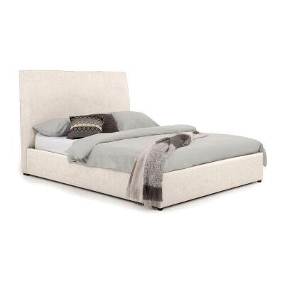 Eric Australian Made Plain Fabric Bed, Queen Size, Linen