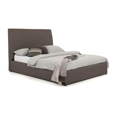 Eric Australian Made Plain Fabric Bed, King Size, Mocha