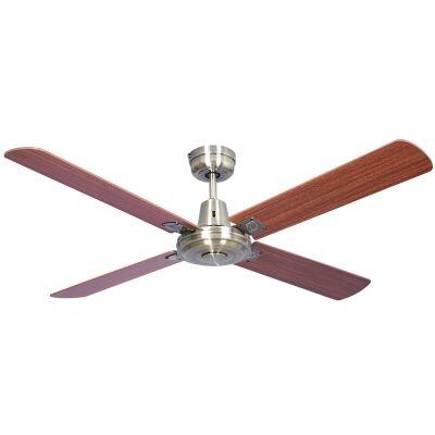 "Swift Timber Ceiling Fan, 120cm/48"", Antique Brass"