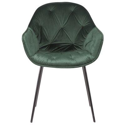Flora Commercial Grade Velvet Fabric Dining Chair, Emerald