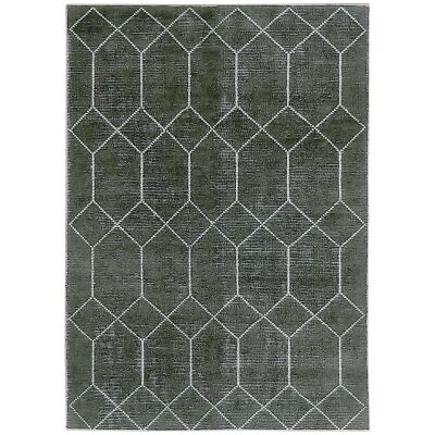 Geometrics Hand Knotted Wool Rug, 160x230cm, Black
