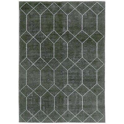 Geometrics Hand Knotted Wool Rug, 300x400cm, Black