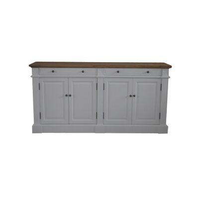 Robin Oak Timber 4 Door 2 Drawer Sideboard, 160cm, Oak / White