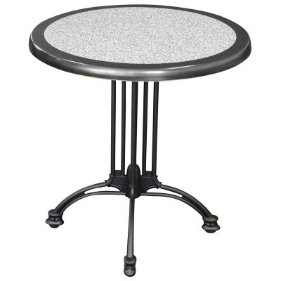 Trieste Commercial Grade Round Dining Table, 60cm, Pebble / Black