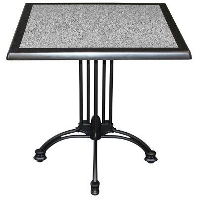 Trieste Commercial Grade Square Dining Table, 60cm, Pebble / Black