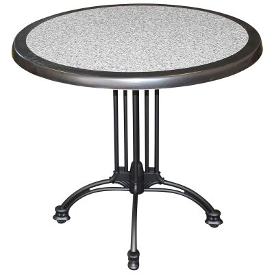 Trieste Commercial Grade Round Dining Table, 70cm, Pebble / Black