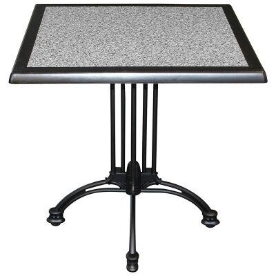 Trieste Commercial Grade Square Dining Table, 70cm, Pebble / Black