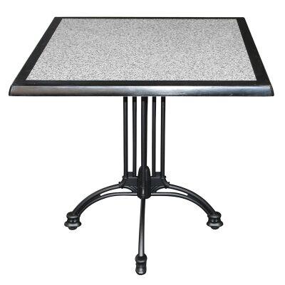 Trieste Commercial Grade Square Dining Table, 80cm, Pebble / Black