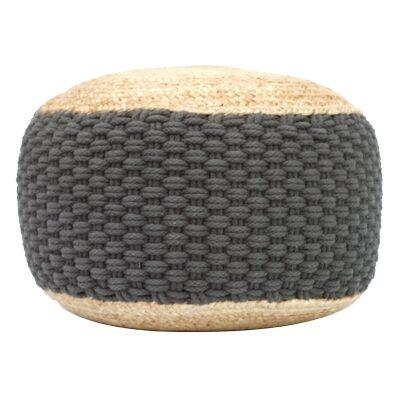 Carmes Jute & Cotton Round Pouf, Charcoal