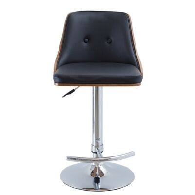 Florence PU Leather & Timber Gas Lift Bar Chair, Black
