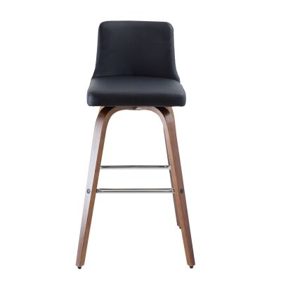 Matera Commercial Grade Bentwood Swivel Bar Chair, Faux Leather Seat, Black / Walnut