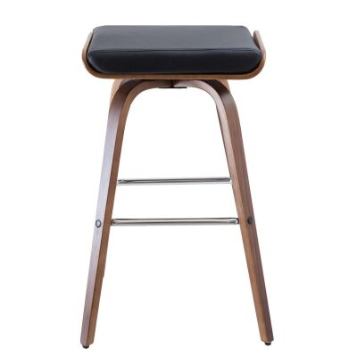 Set of 2 Lucca PU Leather and Timber Barstool - Black
