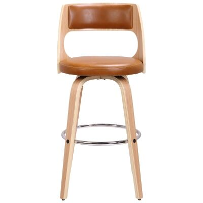 Oslo Commercial Grade Swivel Bar Stool, Tan / Oak with Silver Footrest