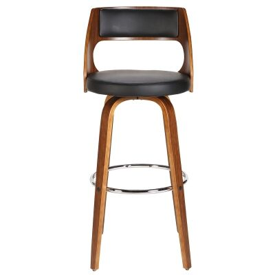 Brakel Wooden Swivel Counter Stool with PU Seat, Black / Walnut