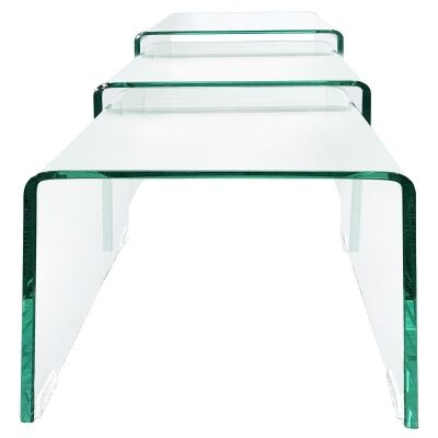 Glacier 3 Piece Glass Nesting Table Set, Clear