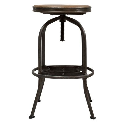 Seaton Metal Adjustable Screw Bar Stool with Timber Seat, Charcoal