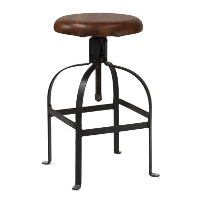 Farringdon Metal Adjustable Screw Bar Stool with Timber Seat,  Charcoal