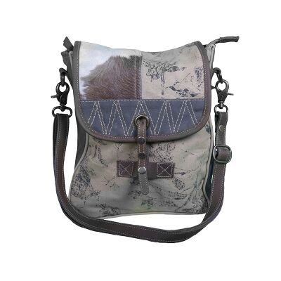 Giles Cowhide and Canvas Patchwork Handbag