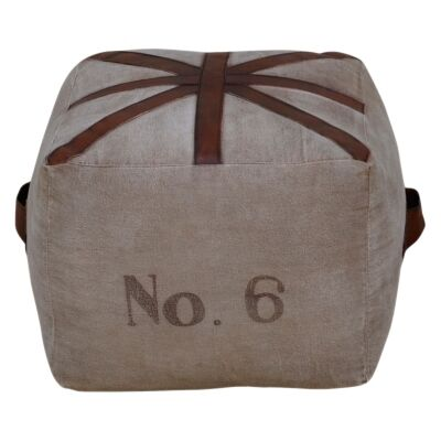No.6 Hand Crafted Canvas Square Otttoman with Leather Handles