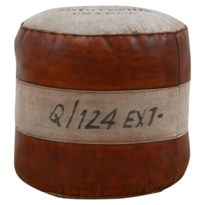 Savon France Hand Crafted Vintage Leather and Canvas Round Ottoman