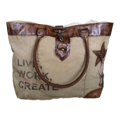 Live Work Create Hand Crafted Canvas Tote Bag with Leather Handles
