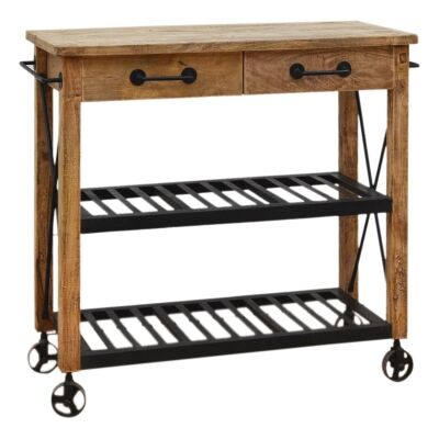 Hadwin Solid Mango Wood Timber Kitchen Island with Iron Shelves and Castors