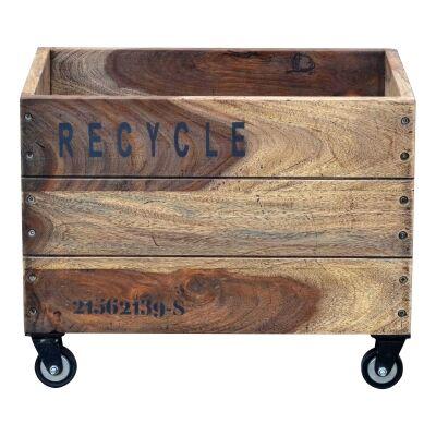 Blancke Solid Mango Wood Timber Storage Basket on Castors