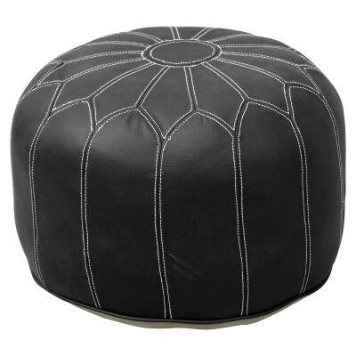 Anzal Leather Morroccan Pouffe, Black