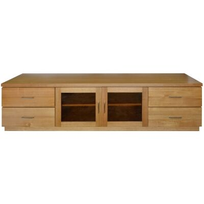 Moselia Tasmanian Oak Timber 2 Door 4 Drawer TV Unit, 200cm, Wheat