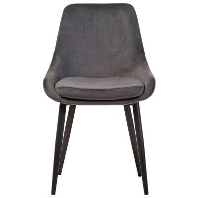 Frobisher Velvet Fabric Dining Chair, Dark Grey