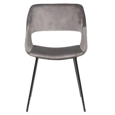 Nancy Commercial Grade Velvet Fabric Dining Chair, Grey
