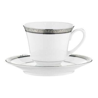 Noritake Regent Platinum Fine China Tea Cup with Saucer