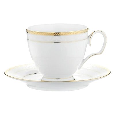 Noritake Hampshire Gold Fine China Teacup with Saucer Set