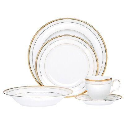 Noritake Hampshire Gold Fine China 20 Piece Dinner Set