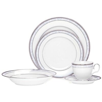 Noritake Hampshire Platinum 20 Piece Fine Porcelain Dinner Set