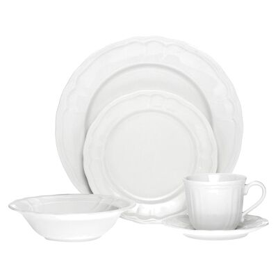 Noritake Baroque 20 Piece White Porcelain Dinner Set