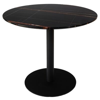 Oaklee Round Dining Table, 90cm, Black Magma
