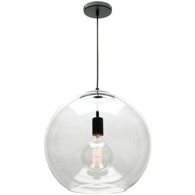 Orpheus Glass Pendant Light, Large, 1 Light, Clear / Black