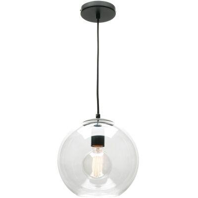 Orpheus Glass Pendant Light, Small, 1 Light, Clear / Black