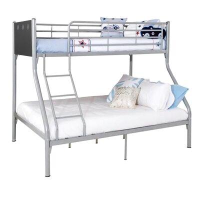 Oscar Metal Bunk Bed, Trio, Silver / Charcoal