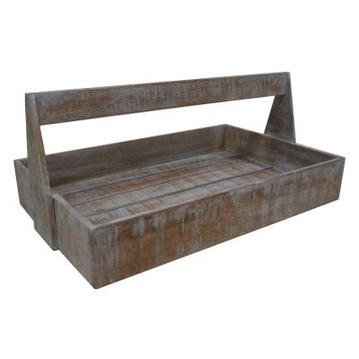 Guston Solid Mango Wood Timber Bakers Tray - White Washed Natural