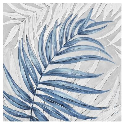 """""""Azure Palm"""" Stretched Hand Painted Canvas Wall Art, No.1, 80cm"""
