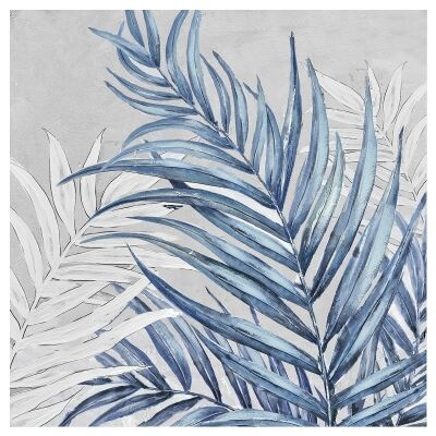 """""""Azure Palm"""" Stretched Hand Painted Canvas Wall Art, No.2, 80cm"""