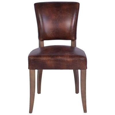 Ditton Leather Dining Chair, Brown / Briar Smoke
