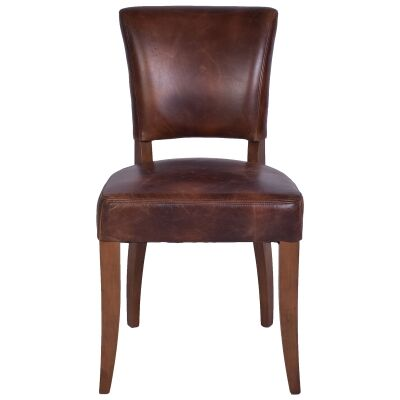 Ditton Leather Dining Chair, Brown / Maroon