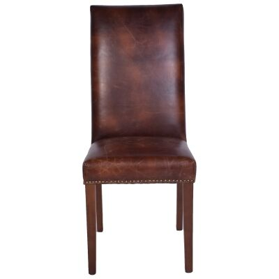 Cuxton Leather Highback Dining Chair, Brown / Maroon